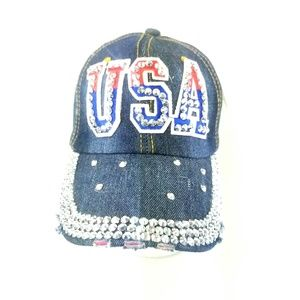 4th of July USA Bejeweled Trucker Hat America